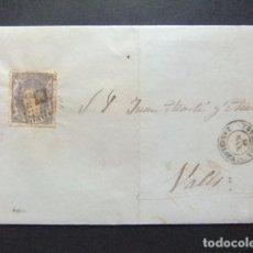 Sellos: ESPAÑA ESPAGNE CARTA CIRCULADA 19/3/1872 DE IGUALADA A VALLS EDIFIL N 107. Lote 102954107