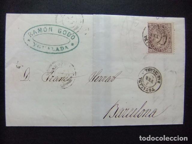 ESPAÑA ESPAGNE CARTA CIRCULADA 3/2/1869 DE IGUALADA A BARCELONA EDIFIL N 98 (Sellos - España - Isabel II de 1.850 a 1.869 - Cartas)
