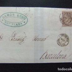 Sellos: ESPAÑA ESPAGNE CARTA CIRCULADA 3/2/1869 DE IGUALADA A BARCELONA EDIFIL N 98. Lote 102955527