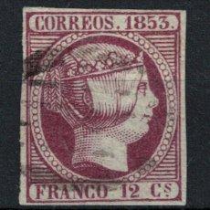 Timbres: SPAIN. ISABEL II (12 CUARTOS VIOLETA 1853). EDIFIL 18. USADO.. Lote 102968811