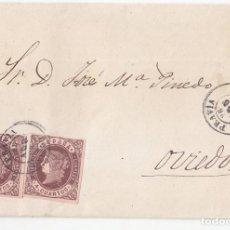 Sellos: ENVUELTA DE PRAVIA A OVIEDO. ASTURIAS. DOBLE PORTE. FECHADORES DE LUJO. 1863. Lote 103051831