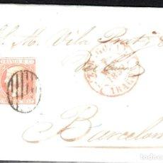 Sellos: CARTA COMPLETA CON SELLO NUM 12 DE JOSÉ TRAVERÍA EN ZARAGOZA 1852 MATASELLOS PARRILLA Y BAEZA. Lote 103242187