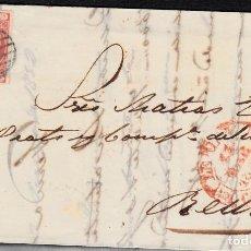 Sellos: CARTA COMPLETA CON SELLO NUM 12 DE VILA EN LLEIDA 1852 MATASELLOS PARRILLA Y BAEZA. Lote 103242415