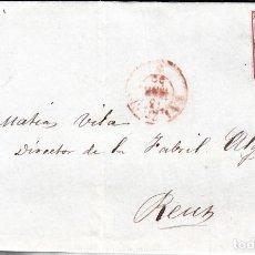 Sellos: CARTA COMPLETA CON SELLO NUM. 33 .DE VALENCIA 1854 MATASELLOS PARRILLA NEGRO Y FECHADOR ROJO. Lote 103245131