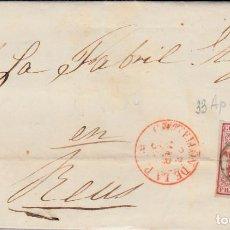 Sellos: CARTA CON NUM. 33AP M. SAGARRA EN CASTELLÓN - 1855 FECHADOR ---ROJO----. Lote 103343975