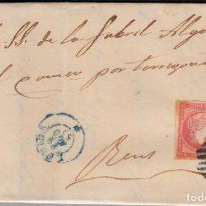 Sellos: CARTA CON NUM. 48 DE MAGÍN LLORENS EN LLEIDA -1857- PARRILLA Y FECHADOR ---AZULES---. Lote 103344263