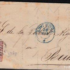 Sellos: CARTA CON NUM. 33AP DE LORZA Y ROCA EN LOGROÑO - 1855 FECHADOR ---AZUL----. Lote 103441659