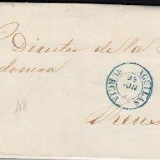 Sellos: CARTA CON SELLO NUM. 48 DE JOAQUIN M. CABRERA EN AGUILAS -MURCIA- -1856----FECHADOR AZUL----. Lote 103635735