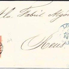Sellos: CARTA CON SELLO NUM. 44 DE LORCA -MURCIA- -1856- -----CON PARRILLA Y FECHADOR AZULES-----. Lote 103636051