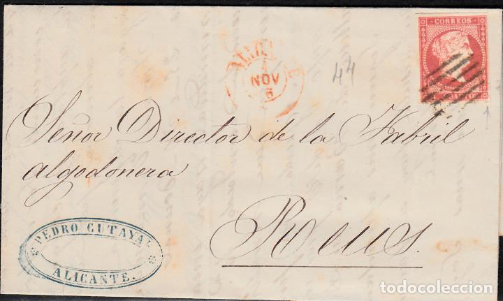 CARTA CON SELLO NUM. 44 DE PEDRO CUTAYAR EN ALICANTE CON PARRILLA NEGRA Y FECHADOR ROJO 1856 (Sellos - España - Isabel II de 1.850 a 1.869 - Cartas)