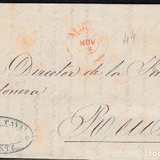 Sellos: CARTA CON SELLO NUM. 44 DE PEDRO CUTAYAR EN ALICANTE CON PARRILLA NEGRA Y FECHADOR ROJO 1856. Lote 171746757