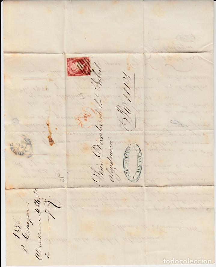 Sellos: CARTA CON SELLO NUM. 44 DE PEDRO CUTAYAR EN ALICANTE CON PARRILLA NEGRA Y FECHADOR ROJO 1856 - Foto 2 - 171746757