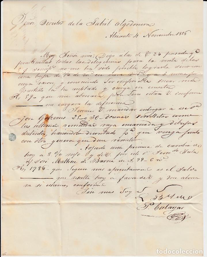 Sellos: CARTA CON SELLO NUM. 44 DE PEDRO CUTAYAR EN ALICANTE CON PARRILLA NEGRA Y FECHADOR ROJO 1856 - Foto 3 - 171746757
