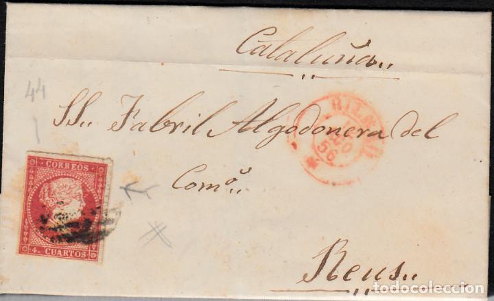 CARTA CON SELLO NUM. 44 DE DOMINGO BORRUEL EN BILBAO --1856--PARRILLA NEGRA Y FECHADOR ROJO (Sellos - España - Isabel II de 1.850 a 1.869 - Cartas)