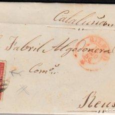 Sellos: CARTA CON SELLO NUM. 44 DE DOMINGO BORRUEL EN BILBAO --1856--PARRILLA NEGRA Y FECHADOR ROJO . Lote 103637491