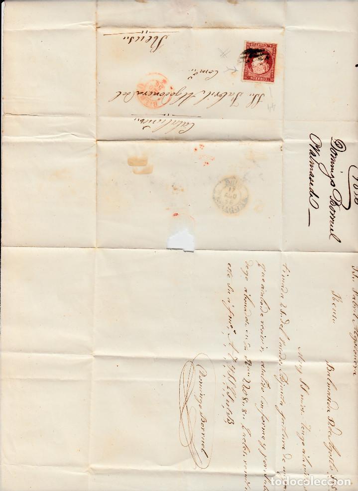 Sellos: CARTA CON SELLO NUM. 44 DE DOMINGO BORRUEL EN BILBAO --1856--PARRILLA NEGRA Y FECHADOR ROJO - Foto 2 - 103637491