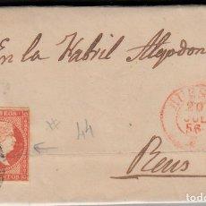 Sellos: CARTA CON SELLO NUM. 44 DE LORENZO ACIN EN HUESCA --1856--PARRILLA NEGRA Y FECHADOR ROJO. Lote 103637731