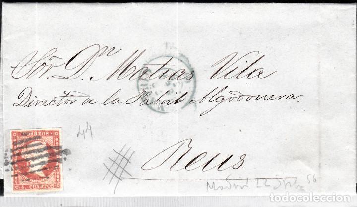 CARTA CON SELLO NUM. 44 DE PEDRO MONET EN MADRID --1856--PARRILLA NEGRA Y FECHADOR AZUL (Sellos - España - Isabel II de 1.850 a 1.869 - Cartas)
