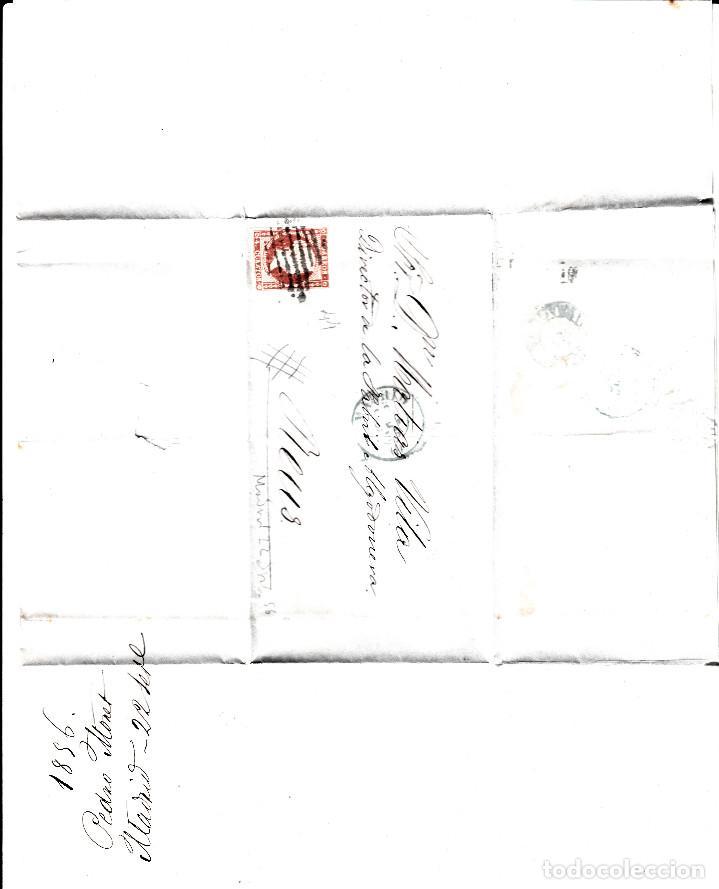 Sellos: CARTA CON SELLO NUM. 44 DE PEDRO MONET EN MADRID --1856--PARRILLA NEGRA Y FECHADOR AZUL - Foto 2 - 103637975
