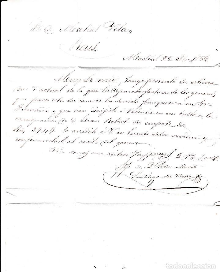 Sellos: CARTA CON SELLO NUM. 44 DE PEDRO MONET EN MADRID --1856--PARRILLA NEGRA Y FECHADOR AZUL - Foto 3 - 103637975