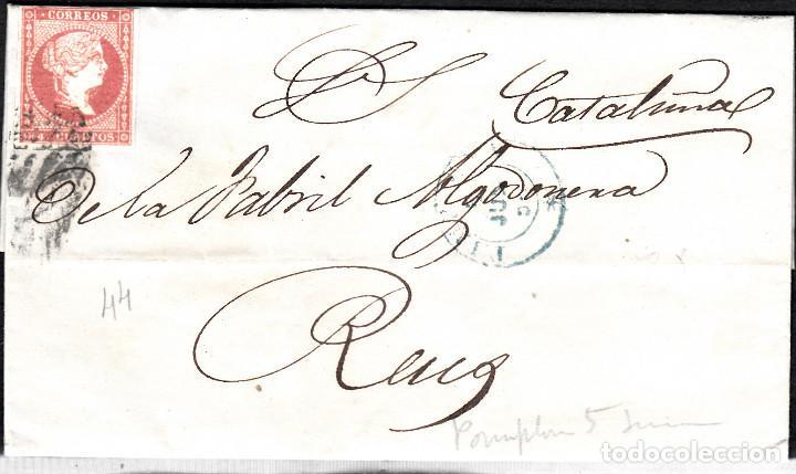 CARTA CON SELLO NUM. 44 DE PAMPLONA DESTINO REUS --1856--PARRILLA NEGRA Y FECHADOR AZUL (Sellos - España - Isabel II de 1.850 a 1.869 - Cartas)