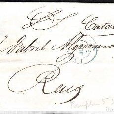 Sellos: CARTA CON SELLO NUM. 44 DE PAMPLONA DESTINO REUS --1856--PARRILLA NEGRA Y FECHADOR AZUL. Lote 104076711