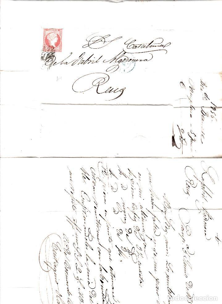 Sellos: CARTA CON SELLO NUM. 44 DE PAMPLONA DESTINO REUS --1856--PARRILLA NEGRA Y FECHADOR AZUL - Foto 2 - 104076711