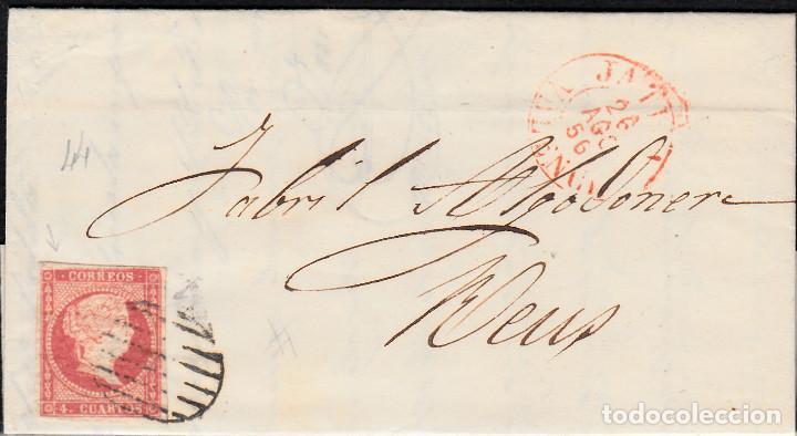CARTA CON SELLO NUM. 44 DE JOSÉ SERRA EN XÀTIVA-JÁTIVA --1856--PARRILLA NEGRA Y FECHADOR ROJO (Sellos - España - Isabel II de 1.850 a 1.869 - Cartas)