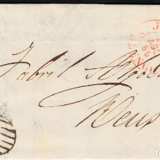 Sellos: CARTA CON SELLO NUM. 44 DE JOSÉ SERRA EN XÀTIVA-JÁTIVA --1856--PARRILLA NEGRA Y FECHADOR ROJO. Lote 104080275