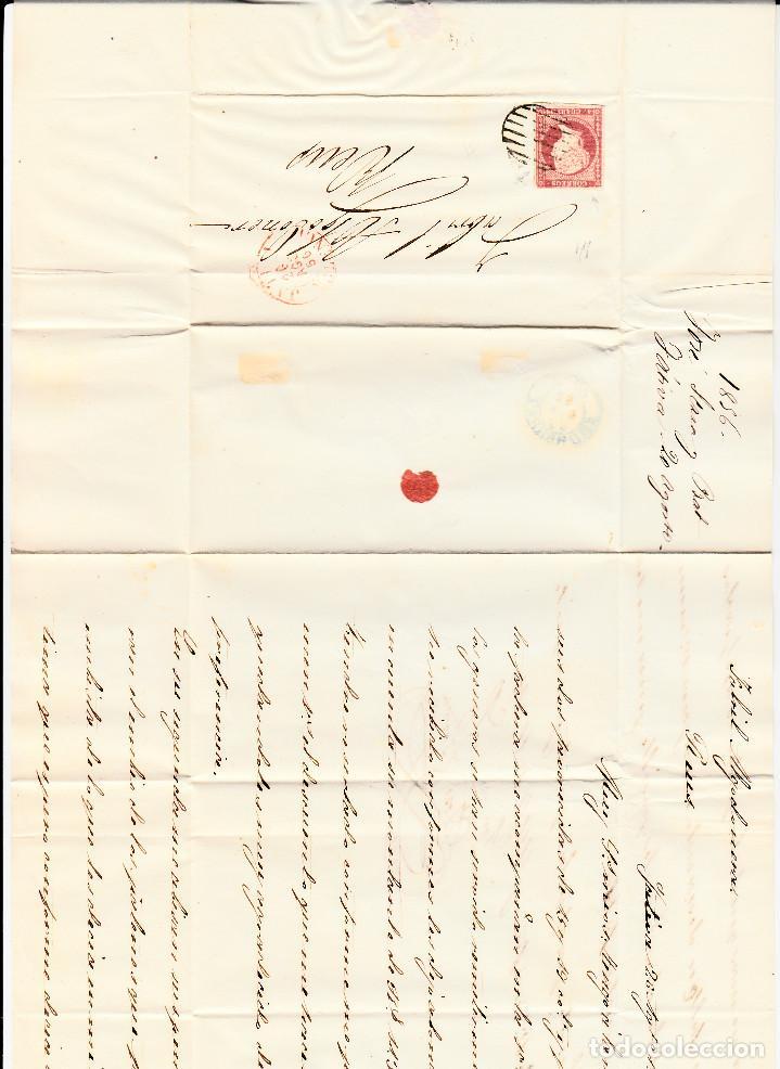 Sellos: CARTA CON SELLO NUM. 44 DE JOSÉ SERRA EN XÀTIVA-JÁTIVA --1856--PARRILLA NEGRA Y FECHADOR ROJO - Foto 2 - 104080275