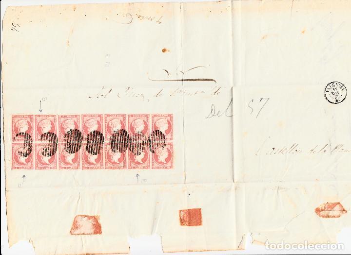 PLICA CON 14 SELLOS DE TIPO 48B(III) I LAS VARIANTES DETALLADAS EN LA DESCRIPCIÓN- VALENCIA (1857) (Sellos - España - Isabel II de 1.850 a 1.869 - Cartas)