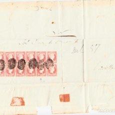 Sellos: PLICA CON 14 SELLOS DE TIPO 48B(III) I LAS VARIANTES DETALLADAS EN LA DESCRIPCIÓN- VALENCIA (1857). Lote 104828107