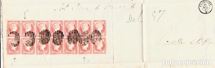 Sellos: PLICA CON 14 SELLOS DE TIPO 48B(III) I LAS VARIANTES DETALLADAS EN LA DESCRIPCIÓN- VALENCIA (1857) - Foto 2 - 104828107