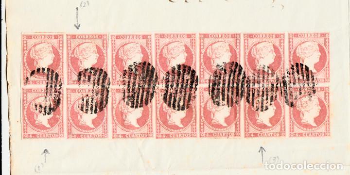 Sellos: PLICA CON 14 SELLOS DE TIPO 48B(III) I LAS VARIANTES DETALLADAS EN LA DESCRIPCIÓN- VALENCIA (1857) - Foto 3 - 104828107