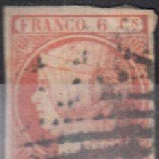 EDIFIL 12 USADO. ISABEL II 1852. PARRILLA NEGRA. MÁRGENES CORTOS.