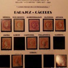 Sellos: BADAJOZ CÁCERES FECHADORES 4 CUARTOS - LOTE TAL FOTO EN HOJA DE EXPOSICIÓN. Lote 105364271