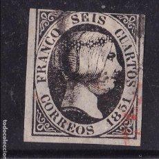 Sellos: AA12-CLÁSICOS EDIFIL 6. NEGRO INTENSO. MATASELLOS NEGRO Y ROJO. Lote 105619367