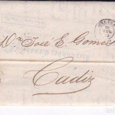 Sellos: F23-9-CARTA COMPLETA MALAGA -CÁDIZ 1863. DOBLE CARTA CON LISTA COTIZACIONES . Lote 106004859