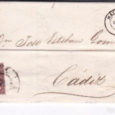 Sellos: F23-11-CARTA COMPLETA MÁLAGA -CÁDIZ 1863. INCLUYE HOJA COTIZACIONES. Lote 106006151