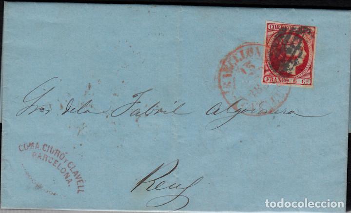 CARTA ENTERA CON SELLO NUM 17 DE COMA CIURO EN BARCELONA -1853 MATASELLOS PARRILLA Y FECHADOR (Sellos - España - Isabel II de 1.850 a 1.869 - Cartas)