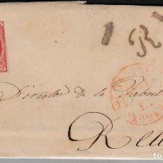 Sellos: CARTA ENTERA CON SELLO NUM 17 DE JOSÉ PAYÉS EN ZARAGOZA -1853 PARRILLA Y BAEZA Y MARCA 1R. Lote 106826635
