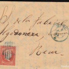 Sellos: CARTA CON SELLO NUM. 44 DE FRANCISCO AGUILAR EN MURCIA --1856--PARRILLA T FECHADOR AZULES. Lote 106827435