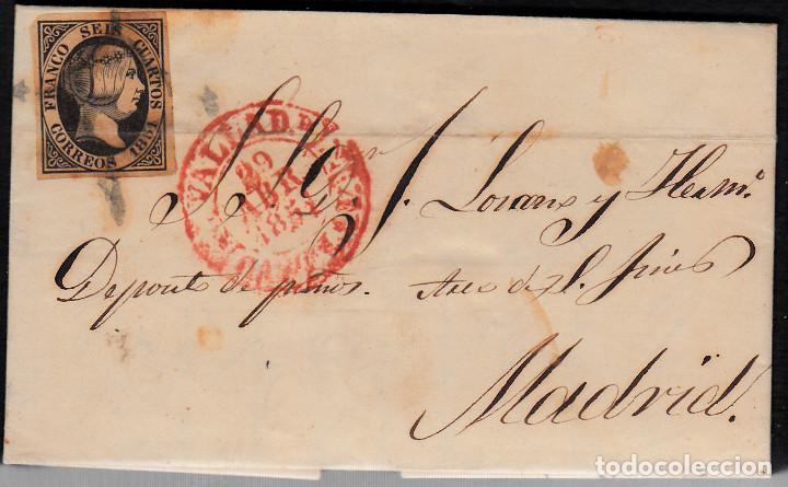 CARTA COMPLETA CON NUM. 6 DE VALLADOLID A MADRID - 1851- MATASELLOS ARAÑA Y BAEZA (Sellos - España - Isabel II de 1.850 a 1.869 - Cartas)