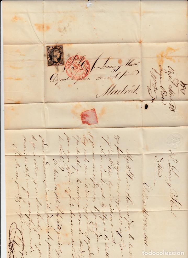 Sellos: CARTA COMPLETA CON NUM. 6 DE VALLADOLID A MADRID - 1851- MATASELLOS ARAÑA Y BAEZA - Foto 2 - 107274943