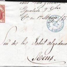 Sellos: CARTA COMPLETA CON SELLO NUM. 33 DE IGUALADA A REUS CON PARRILLA AZUL GRIS Y FECHADOR AZUL 1854. Lote 108084735