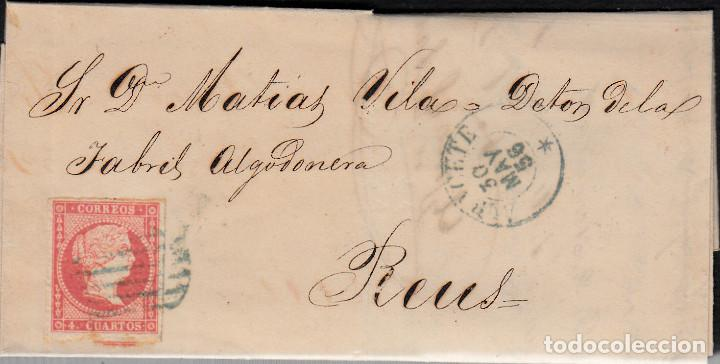 CARTA COMPLETA SELLO NUM. 44 DE GUILLERMO GELABERT EN ALBACETE-1856-PARRILLA Y FECHADOR AZUL-GRIS (Sellos - España - Isabel II de 1.850 a 1.869 - Cartas)