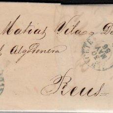 Sellos: CARTA COMPLETA SELLO NUM. 44 DE GUILLERMO GELABERT EN ALBACETE-1856-PARRILLA Y FECHADOR AZUL-GRIS. Lote 108109027