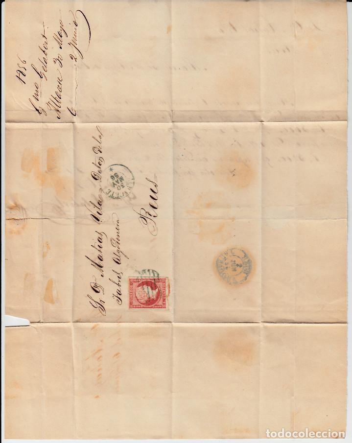 Sellos: carta completa SELLO NUM. 44 DE GUILLERMO GELABERT EN ALBACETE-1856-PARRILLA Y FECHADOR AZUL-GRIS - Foto 2 - 108109027