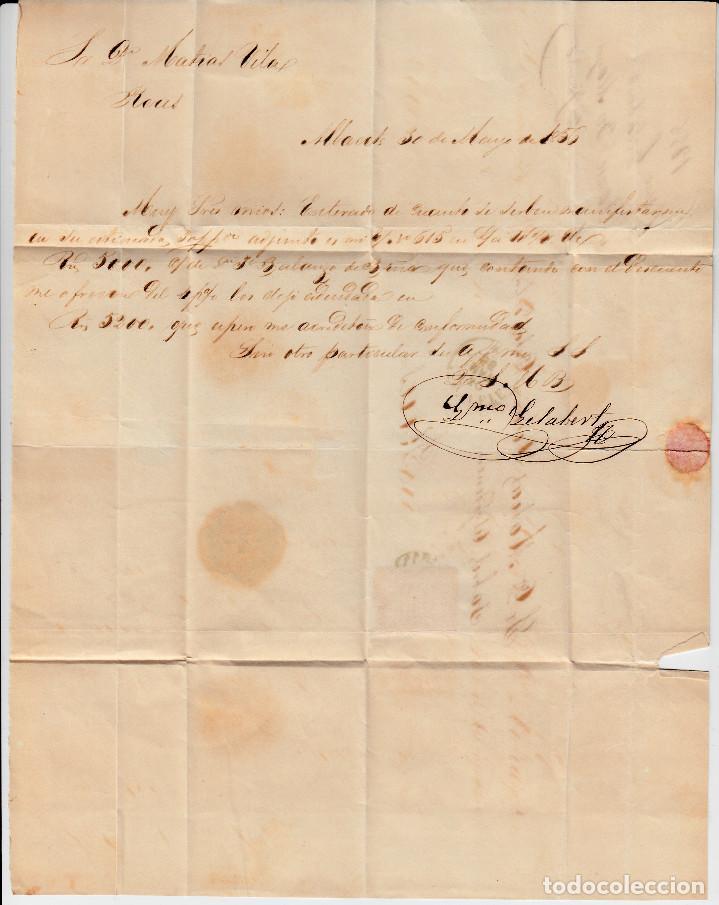 Sellos: carta completa SELLO NUM. 44 DE GUILLERMO GELABERT EN ALBACETE-1856-PARRILLA Y FECHADOR AZUL-GRIS - Foto 3 - 108109027
