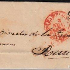Sellos: CARTA COMPLETA CON SELLO NUM 12 DE PAMPLONA A REUS -1852-CON DOBLE PARRILLA. Lote 108113527